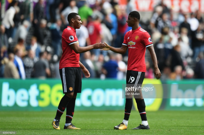 Anthony Martial starts ahead of Marcus Rashford