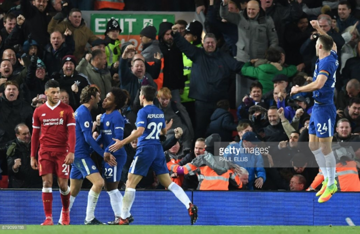 Liverpool 1-1 Chelsea: Willian's cross-shot earns Blues a late point at Anfield and denies Salah revenge