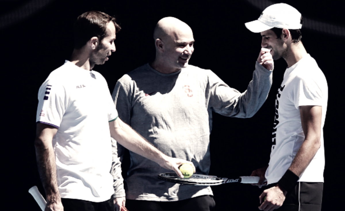 Novak Djokovic parts with Andre Agassi and Radek Stepanek