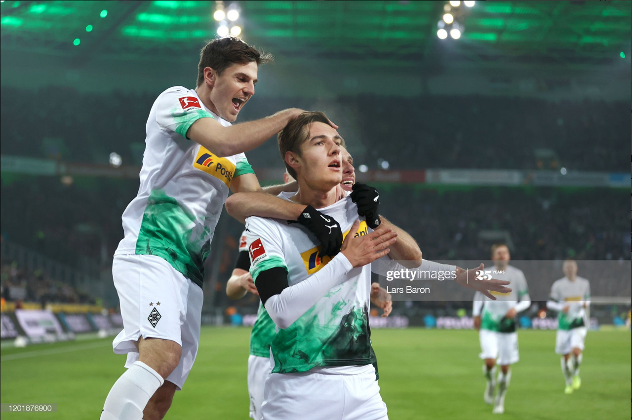 Florian Neuhaus celebrates scoring against Mainz last season. (Photo via Gettyimages/Lars Baron)