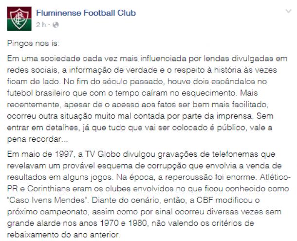 Após polêmica com Vasco, Fluminense desmistifica 'lendas' sobre rebaixamentos em sua rede social