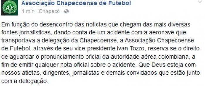 Chapecoense emite comunicado oficial sobre acidente aéreo de sua delegação