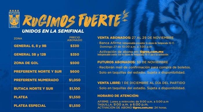 Tigres anuncia venta de boletos para semifinal