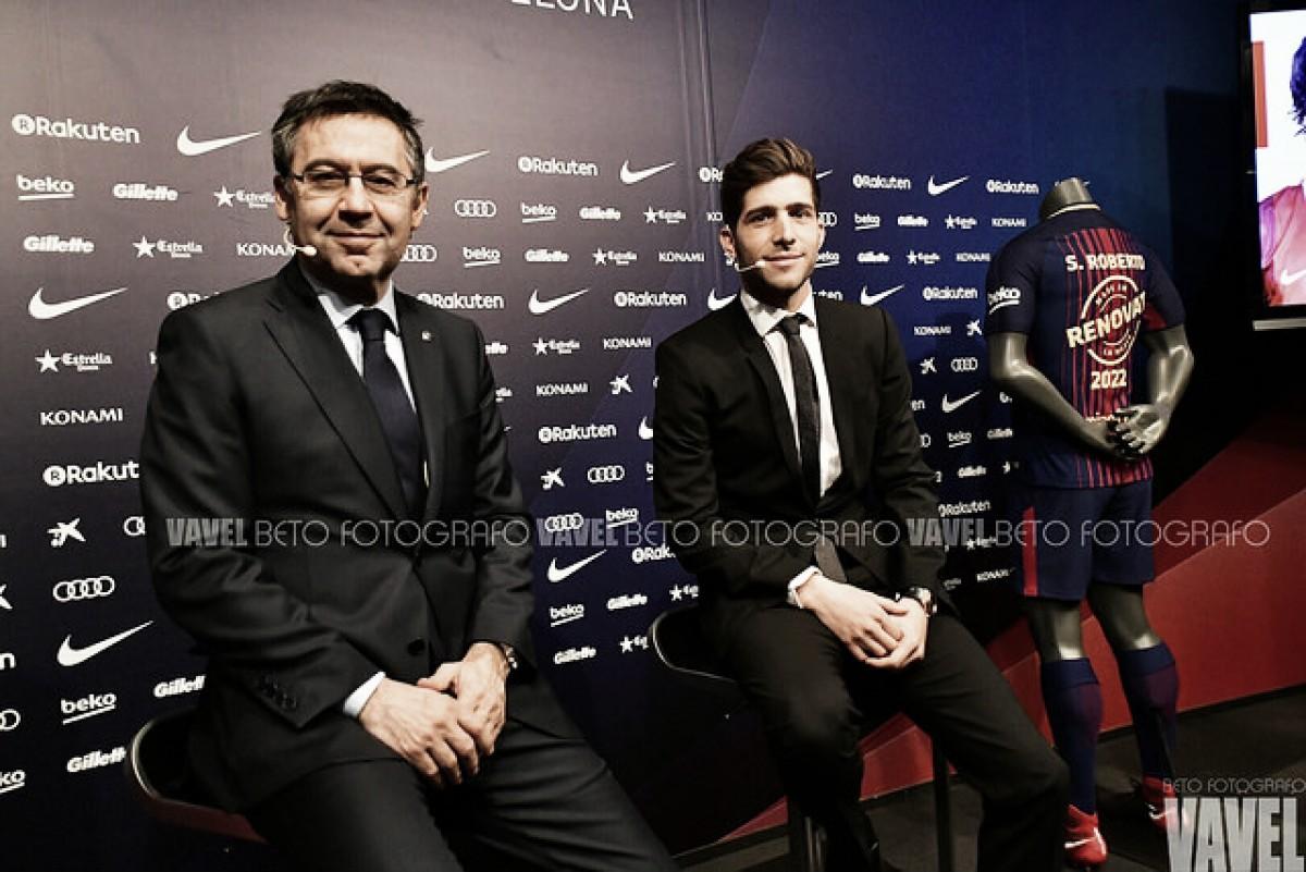 """Dono da lateral direita, Sergi Roberto renova com Barcelona até 2022: """"Quero me aposentar aqui"""""""