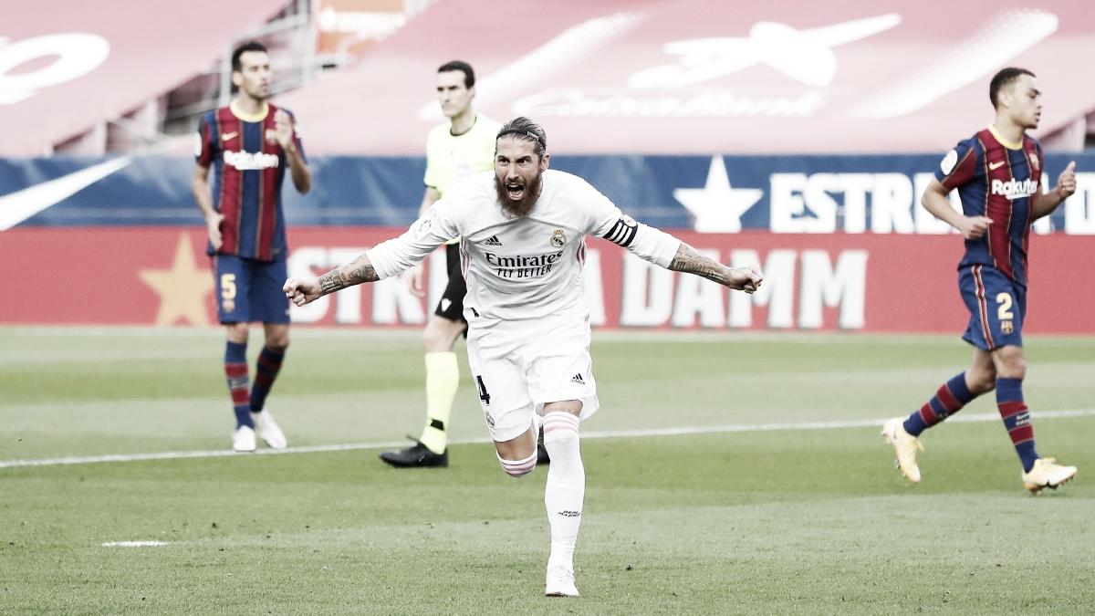 Celebración de Sergio Ramos en su gol contra el Barça | Fuente: Twitter Real Madrid.