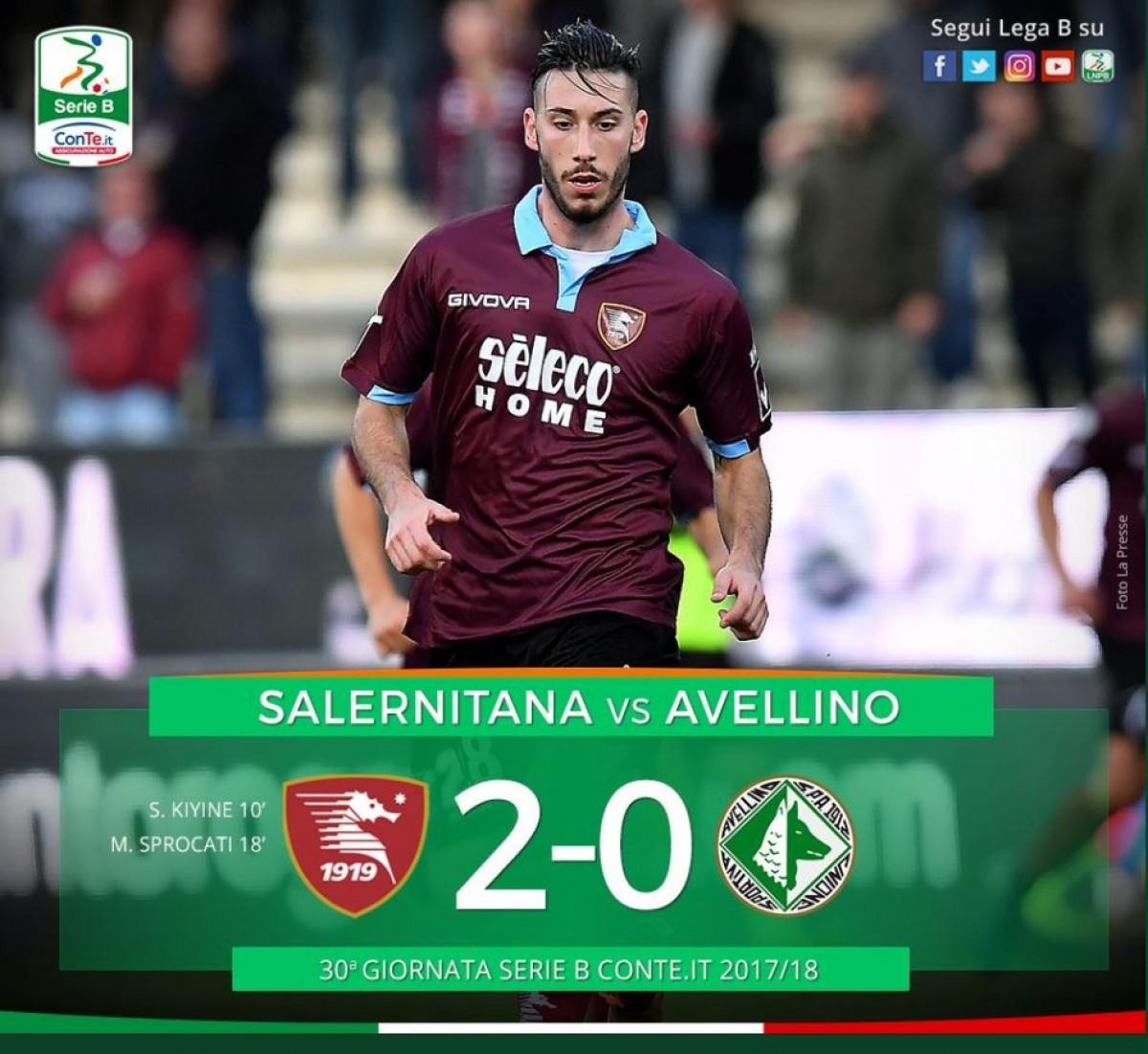 Serie B: la Salernitana chiude il derby in 20 minuti, l'Avellino mai in partita