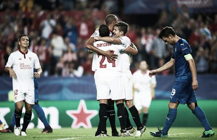Com Ganso entre os titulares, Sevilla goleia Dínamo Zagreb e encaminha classificação na UCL