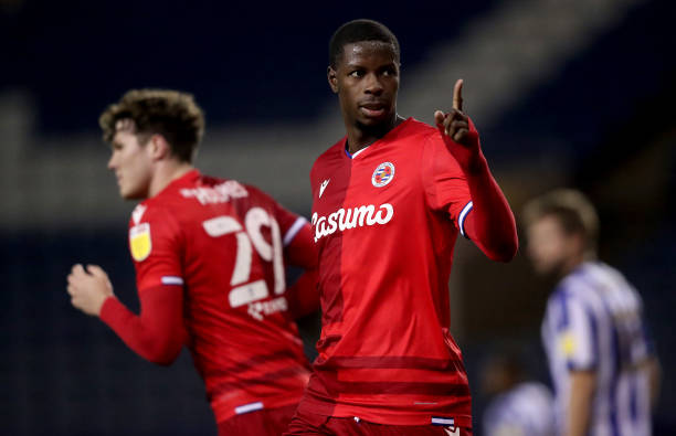 SHEFFIELD, ENGLAND - DECEMBER 02: Lucas Joao of Reading celebrates after scoring their sides first goal during the Sky Bet Championship match between Sheffield Wednesday and Reading at Hillsborough Stadium on December 02, 2020 in Sheffield, England. The match will be played without fans, behind closed doors as a Covid-19 precaution. (Photo by Alex Livesey/Getty Images)