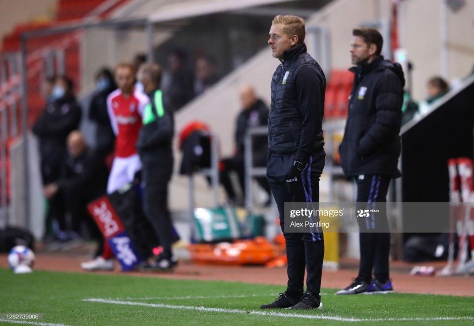 Sheffield Wednesday manager Garry Monk watches on as his side suffers a painful derby defeat to Rotherham United. Photo: Alex Pantling/Getty Images.