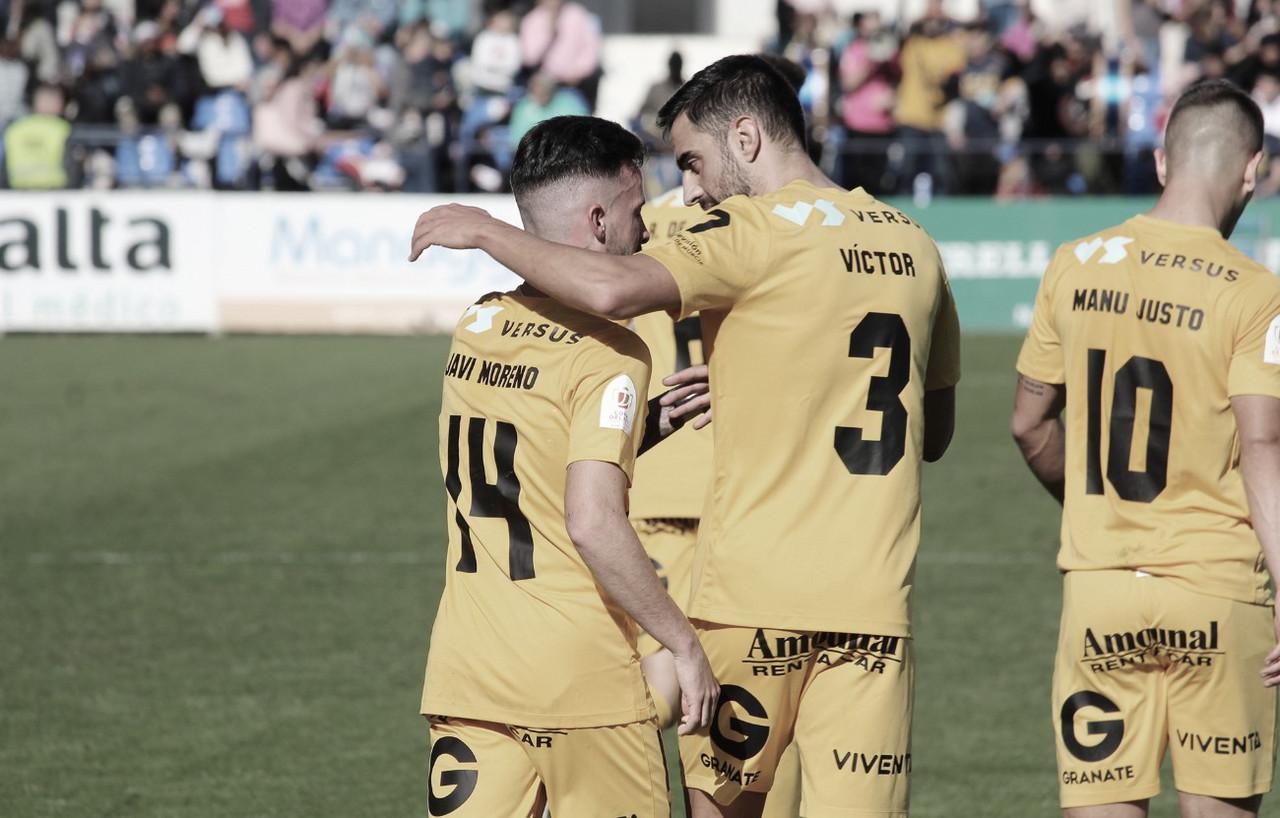 Víctor Dían y Javi Moreno en un partido | Foto: UCAM Murcia CF