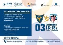 Colaboración solidaria entre UCAM Murcia y AFAPADE en el encuentro ante el Lugo