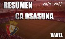 Resumen temporada 2014/2015 del CA Osasuna : de aquellos barros, estos lodos