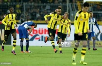 Borussia Dortmund 1-1 Hertha BSC: Aubameyang rescues point for hosts as both sides finish game with 10 men