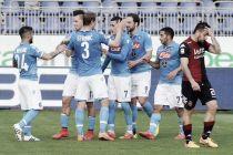Il Napoli strapazza il Cagliari e accorcia su Roma e Lazio