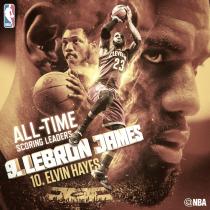 LeBron James se convierte en el 9º máximo anotador histórico de la NBA