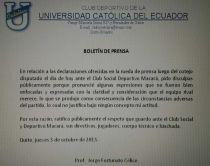 Comunicado de la Universidad Católica en la que informa que Célico se disculpa