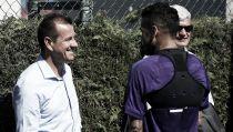 Dunga visita el entrenamiento del Barcelona