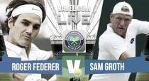 Roger Federer vs Sam Groth en vivo y en directo online en Wimbledon 2015 (2-0)
