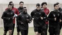 Jornada de entrenamiento pasada por agua para el Málaga CF