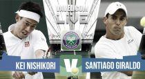 Resultado Kei Nishikori vs Santiago Giraldo en Wimbledon 2015 (0-3)
