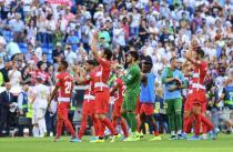 Reacción del Granada CF sin recompensa en el Bernabéu