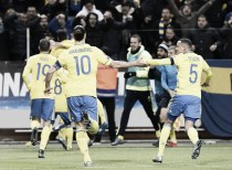 Sweden 2-1 Denmark: Ibrahimovic and Forsberg fire Swedes to first leg lead