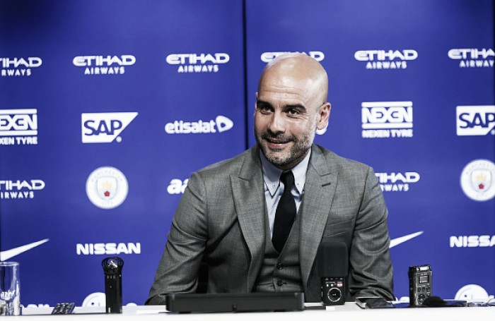 "Pep Guardiola reveals ""high expectations"" in first Manchester City press conference"
