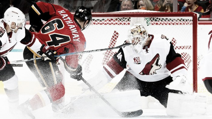 Arizona Coyotes get burned by Calgary Flames in overtime