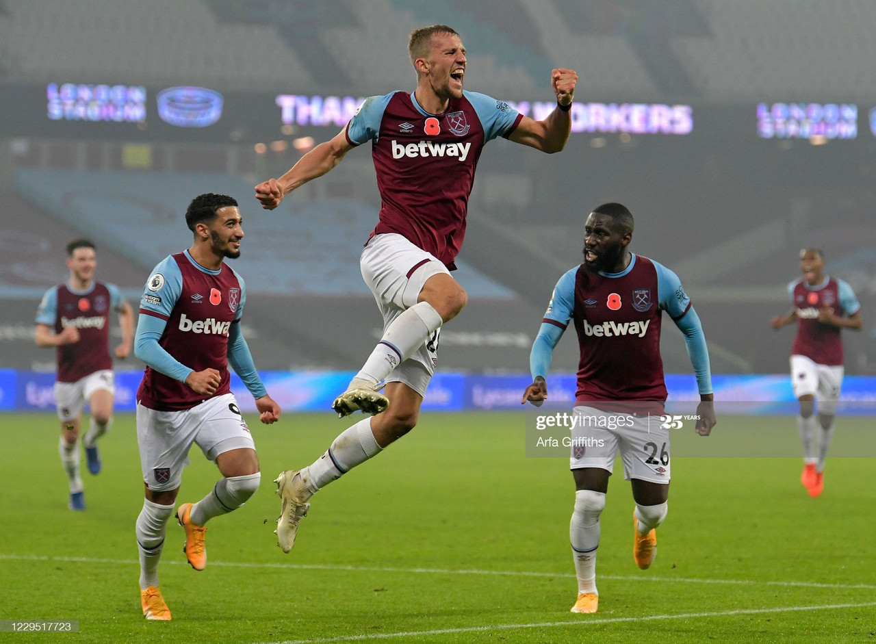 Tomas Soucek celebrates his goal against Fulham via Arfa Griffiths- Getty Images