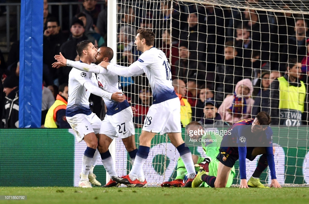 As it happened: Spurs rescue theirChampions League campaign with late strike against Barcelona