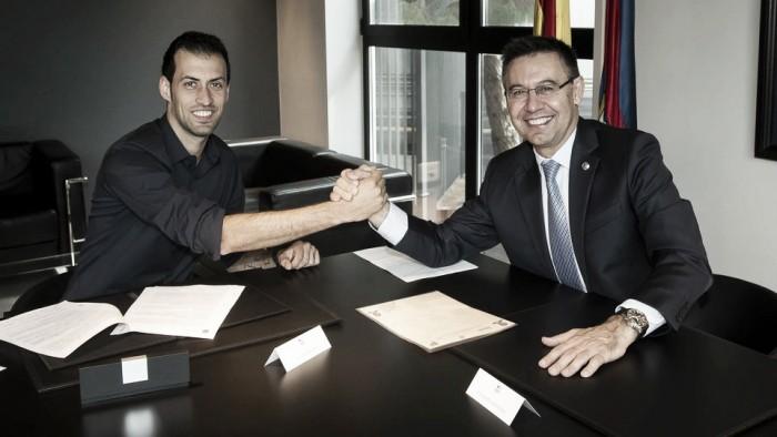 Cria da base, Busquets renova com Barcelona até 2021
