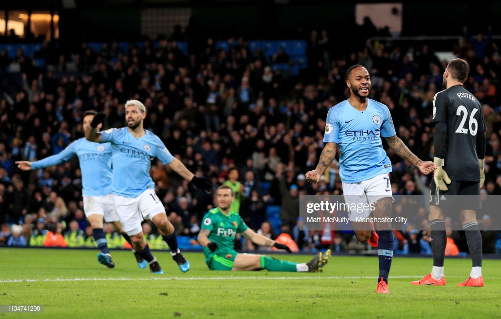 Manchester City 3-1 Watford: Quick-fire Sterling hat-trick sees City go four points clear