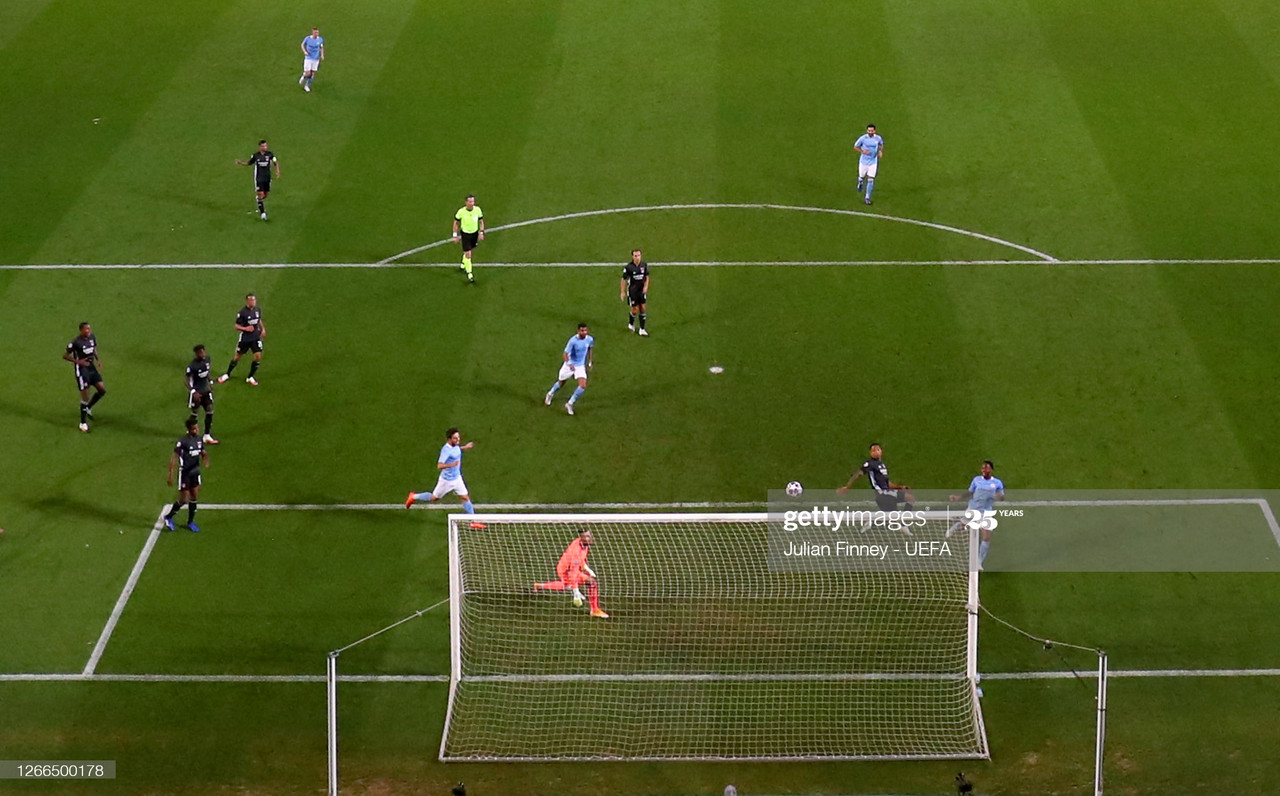 A moment that ended City's season. Sterling misses a tap in to equalise and from the restart Lyon make it 3-1 to knockout City out at the Quarter-Finals of the UEFA Champions League once again <br>- Photo by Julian Finney - UEFA via Getty Images