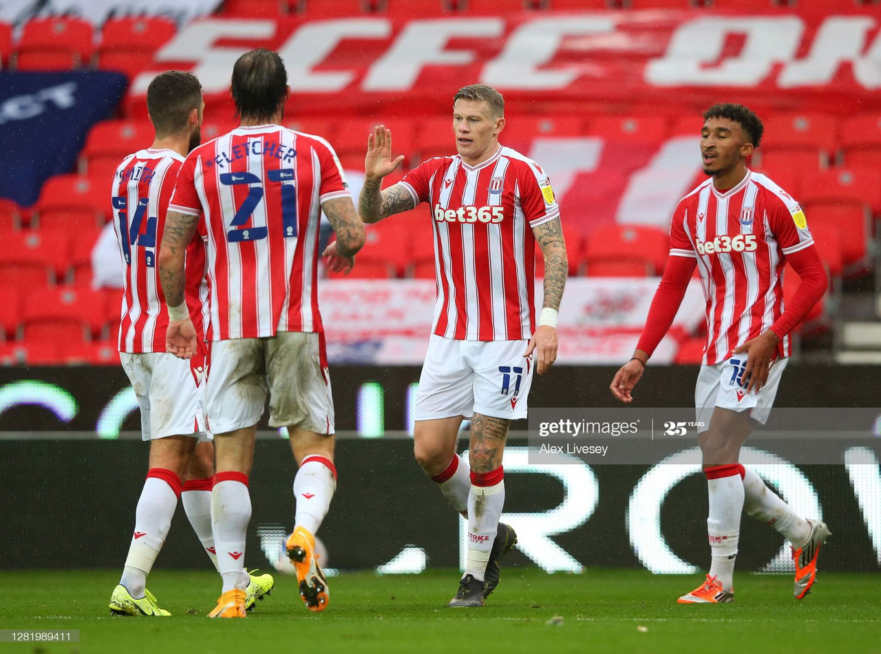 James McClean celebrating with teammates after scoring the second goal against Brentford on the 24th October 2020 (photo by Alex Livesey/GettyImages).