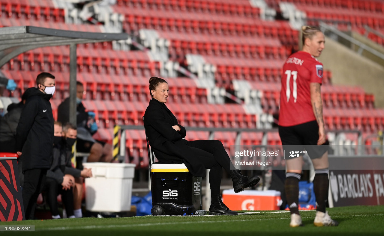 <div>LEIGH, ENGLAND - NOVEMBER 14: Casey Stoney, Manager of Manchester United looks on prior to the Barclays FA Women's Super League match between Manchester United Women and Manchester City Women at Leigh Sports Village on November 14, 2020 in Leigh, England. Sporting stadiums around the UK remain under strict restrictions due to the Coronavirus Pandemic as Government social distancing laws prohibit fans inside venues resulting in games being played behind closed doors. (Photo by Michael Regan/Getty Images)</div>