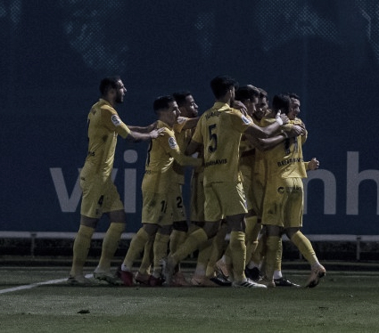 Jugadores del Málaga CF celebrando uno de los dos goles conseguidos en el Fernando Torres. / Foto: LaLiga.