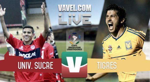 Resultado Universitario de Sucre - Tigres en Copa Libertadores 2015 (1-2)