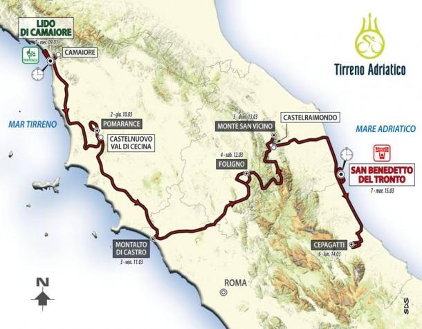 """Ciclismo, presentata la Tirreno-Adriatico 2016. Ecco il percorso della """"corsa dei due mari"""""""