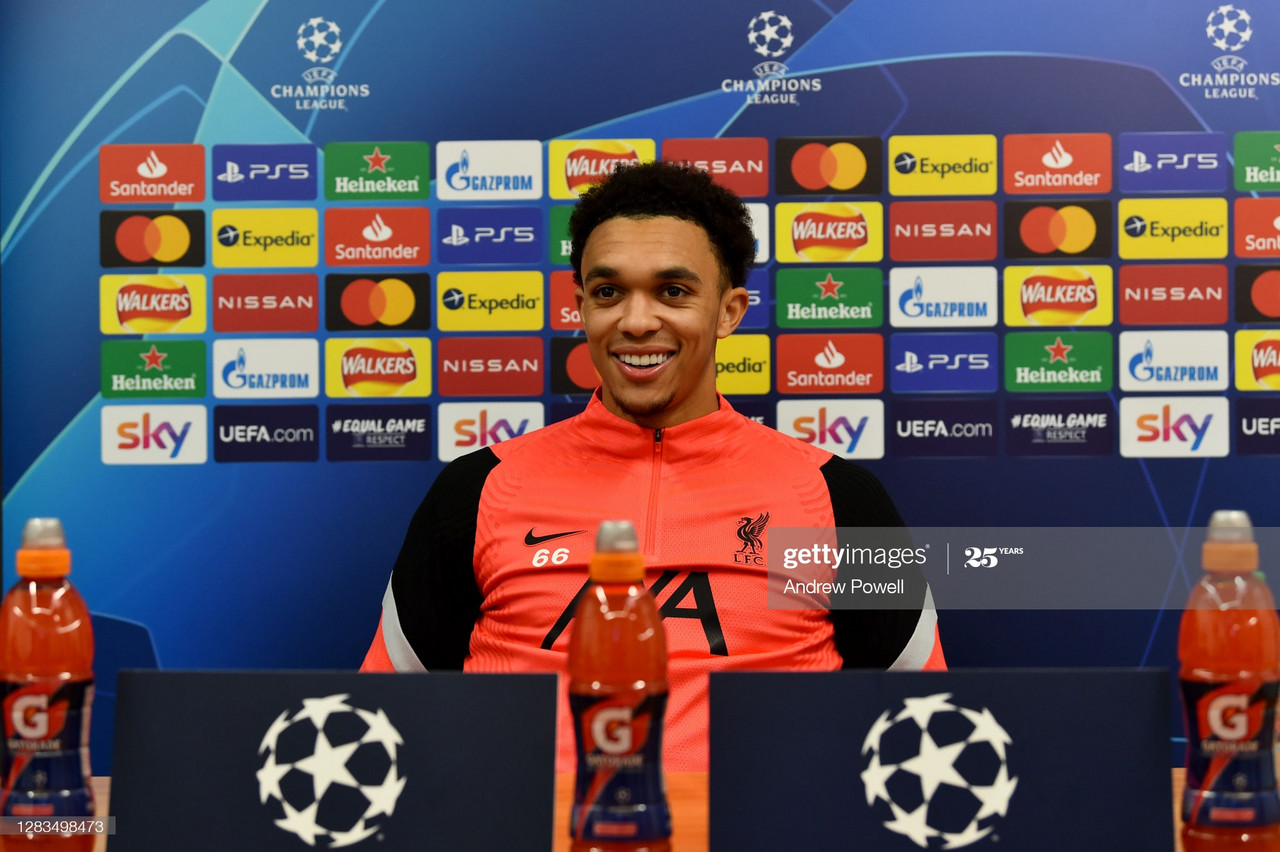 LIVERPOOL, ENGLAND - NOVEMBER 02: (THE SUN OUT, THE SUN ON SUNDAY OUT) Trent Alexander-Arnold of Liverpool during a press conference ahead of the UEFA Champions League Group D stage match between Liverpool FC and Atalanta BC at Melwood Training Ground on November 02, 2020 in Liverpool, England. (Photo by Andrew Powell/Liverpool FC via Getty Images)