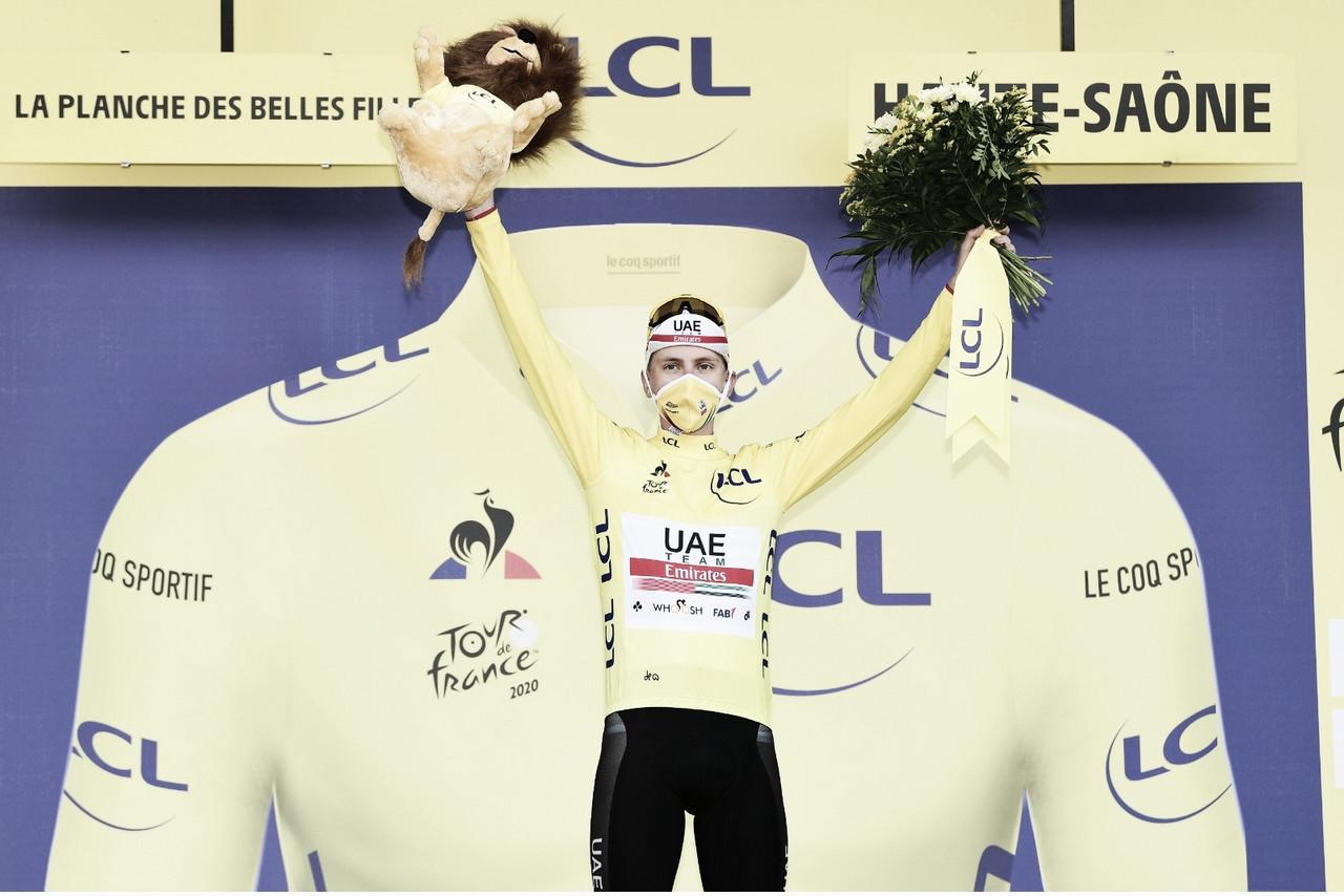 Corredor con más victorias de etapa (3), maillot amarillo, maillot de la montaña y maillot blanco. Ese es, ni más ni menos, el botín queTadej Pogačar se lleva del Tour de Francia 2020. Imagen de @LeTour