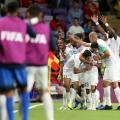 El equipo Emiratos Árabes festeja su pase de fase. FOTO: Olé.
