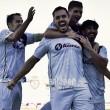 Antonio López celebra uno de sus tres goles (Real Jaén - Best Photo Soccer)