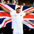 Hamilton celebrating his title success       credit: @getty images