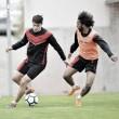 Primer entrenamiento semanal para preparar el partido ante el Gijón