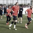 Mathieu, Aleix Vidal y Masip se entrenan en una sesión conjunta con el Barça B