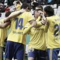 Los jugadores celebran el primer gol. Fuente: LaLiga