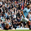 Sergio Aguero wheels away in celebration as he gives Man City the lead | Photo: PremierLeauge.com
