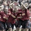 Las rojillas celebran el gol anotado por Mirian Rivas. Foto: Osasuna