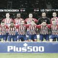 El once inicial del Atleti estuvo compuesto por Adán, Arias, Godín, Giménez, Juanfran, Saúl, Thomas, Koke, Lemar, Correa y Kalinic. Fuente: Atlético de M.