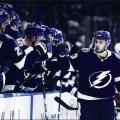 Cedric Paquette celebrates his goal with teammates. | Photo: Tampa Bay Lightning on Twitter